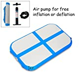 Goplus Inflatable Gymnastic Mat Professional Air Track Tumbling Mat with Pump for Home, Beach, Park and Water Use (S-Blue, 3.3'x2'x4)