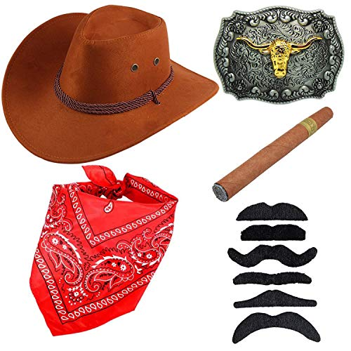 Western Cowboy Costume Accessories - Faux Felt Cowboy Boots Hat,Golden Long Horn Bull Belt Buckle,Cowgirl Bandanna,Tangerine Yellow