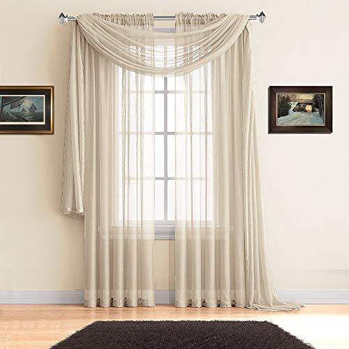 Warm Home Designs Pair of Premium Quality Extra Long 54 x 108 Inch Sheer Beige Faux-Linen Rod Pocket Curtains. Total Width of Affordable Drape Panels is 108