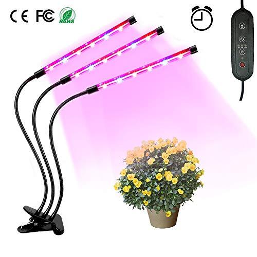 Lámpara LED Plantas, Sebami Lámpara de Crecimiento Plantas Tres Cabezas LED de IP65 Led Lámpara de Plantas ajustable de 360 grados para verduras, Frutas Creciente (Redondo)