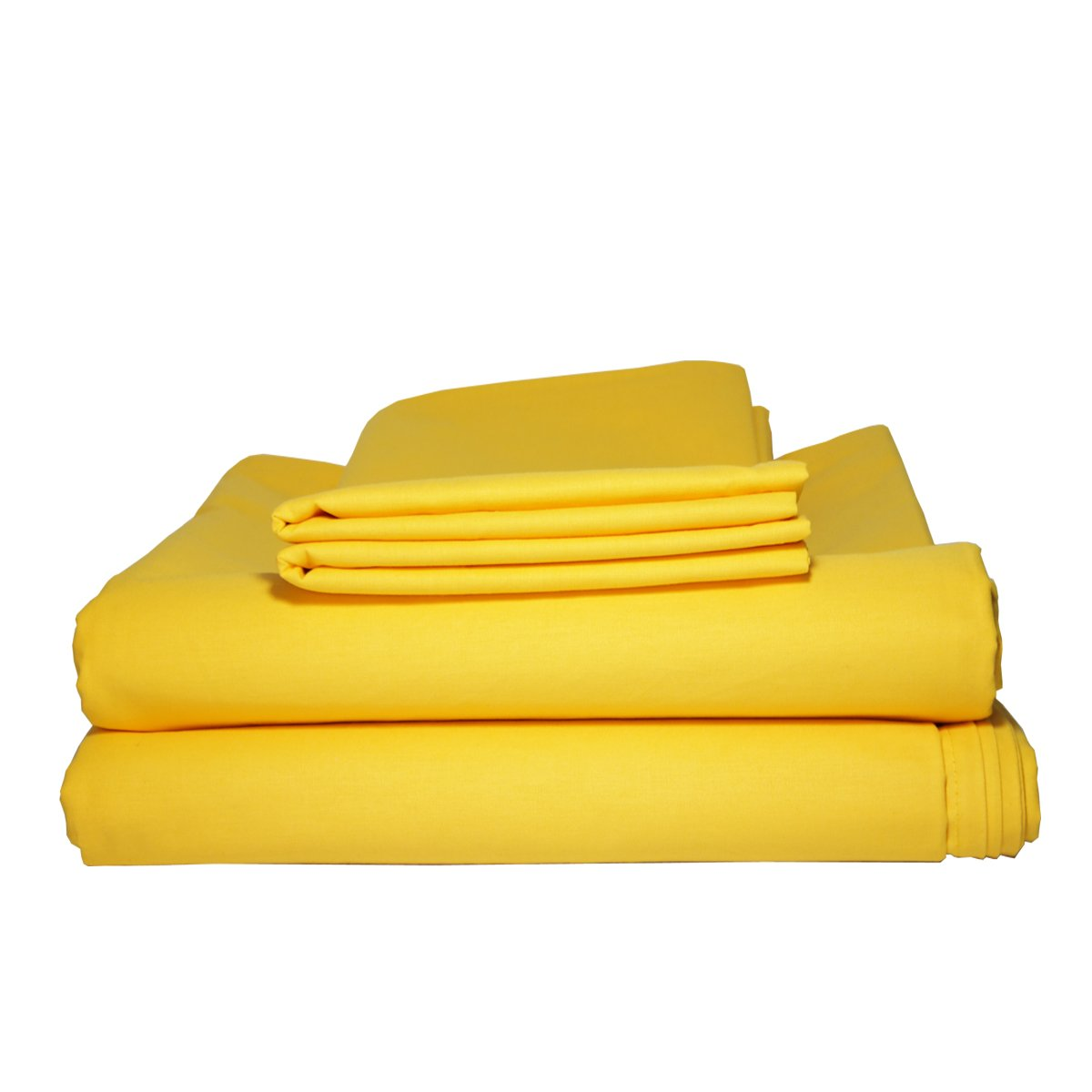 Bepoe 100% Cotton Bed Sheet Set Flat & Fitted Sheets with Pillowcases (Queen, Yellow)