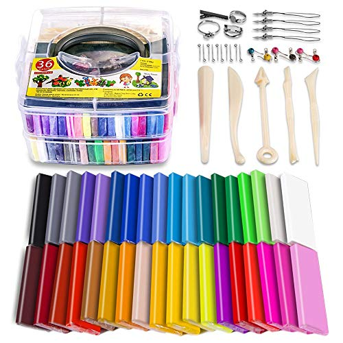- Polymer Clay Starter Kit, 36 Colors Oven Bake Clay, Baking Modeling Clay, DIY Soft Craft Clay, 5 Sculpting Tools, Accessories, and Storage Box. 36 Blocks [1 oz/Piece]