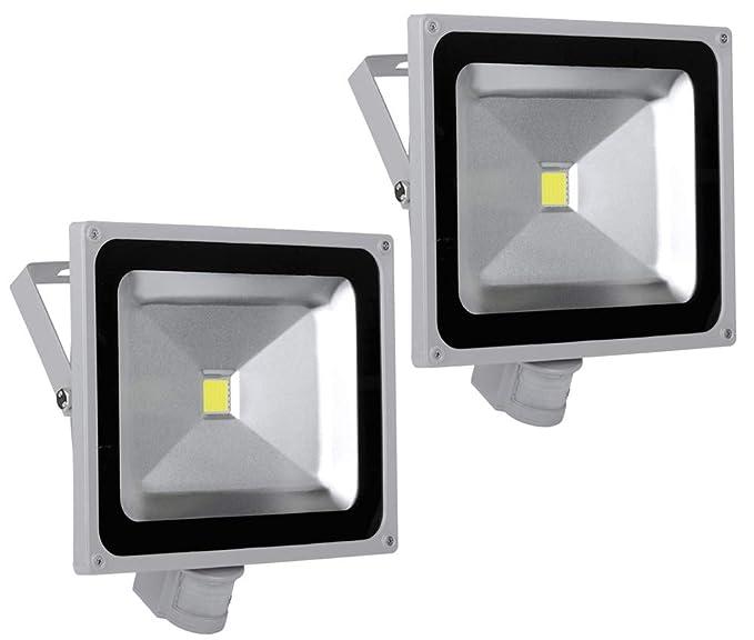 2X 50W Foco LED con Sensor Movimiento, Proyector LED Exterior de ...