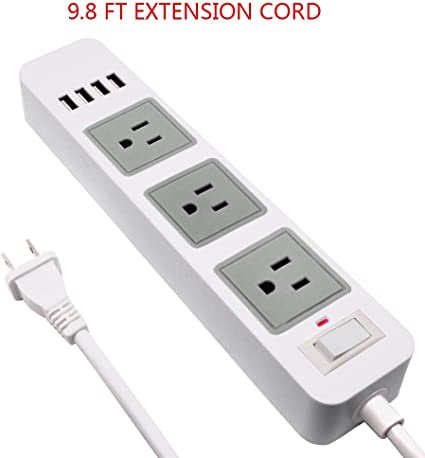 6.6ft Long Cord USB Power Strip with 2 Prong Extension Cord Power Strip White