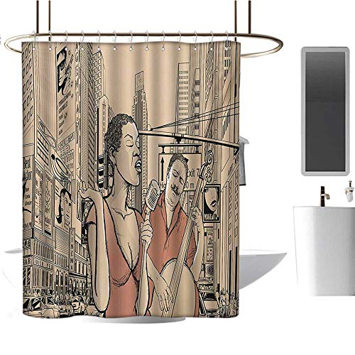 Jazz Music Shower Curtains Digital Printing Jazz Singer with Double Bass Player in a Street of New York Urban Lifestyle Fabric Bathroom Decor Set with Hooks Brown Beige