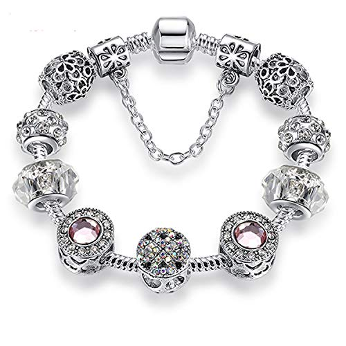 HANBINGPO Original Silver 925 Crystal Four Leaf Clover Bracelet with Clear Murano Glass Beads Charm Bracelet Bangle for Women DIY Jewelry,PS3729,17cm