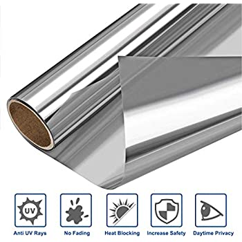 Heat Blocking Window Film Kit Anti-UV 35.4 x 100 Inch, Heat Control Window Stick Tint Reflective No Glue Static Cling Adhesive DIY One Way Film for Home and Office Sun Glare Reduction With Tool