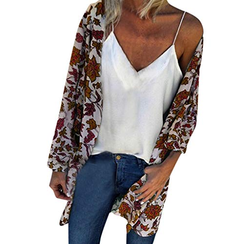 - TUSANG Women Blouse Fashion Loose Summer Floral Print Long Sleeved Cardigan Loose Fit Comfy Flowy Tops(Khaki,US-12/CN-2XL)