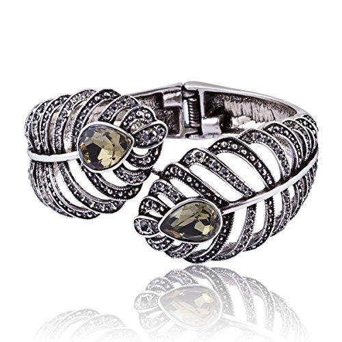 - Carfeny Vintage Retro Cuff Bracelet, 925 Sterling Silver Wide Bangle Bracelets with Austrian Crystal, Black