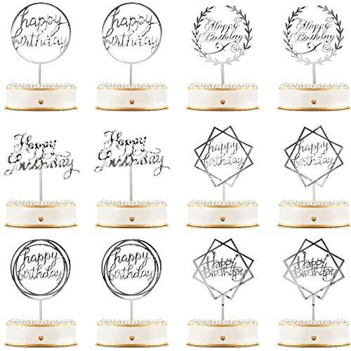12 stuks Happy Birthday Cake Topper Acryl Verjaardag Cupcake Topper Cake Pick Decoraties voor Verjaardag Party Cake…