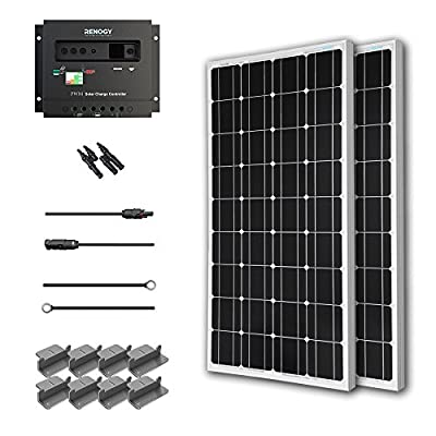 Renogy KT2RNG-100D-2 200W Mono Starter Kit, 2 Piece 100W Solar Panels Plus 20' Adapter Kit