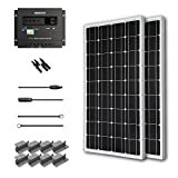 Renogy Starter Solar Panel Kit 200W Mono: 2pc 100W Mono Solar Panels+ 30Amp PWM Charge Controller + 20' Adapter Kit +2 Sets Z Brackets+ 1 Pair of MC4 Branch Connectors