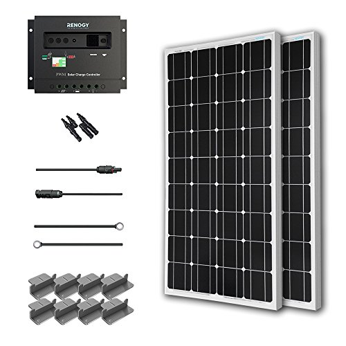 Renogy 200 Watt 12 Volt Monocrystalline Solar Starter Kit with Wanderer (Solar Panel Hook Up)