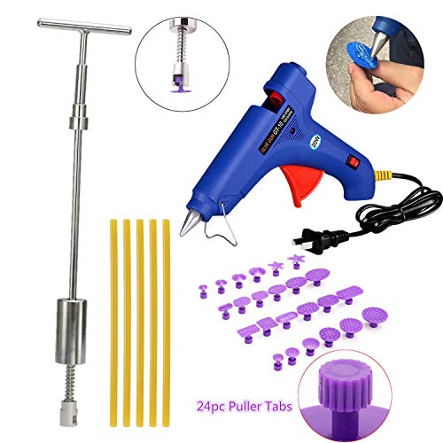 VOLOL SMLIFE DIY Paintless Dent Removal PDR Tools Dent Puller Kit Pops a Slide Hammer with 24pcs Pulling Tabs for Automobile Body Motorcycle Refrigerator Washing Machine by VOLOL SMLIFE