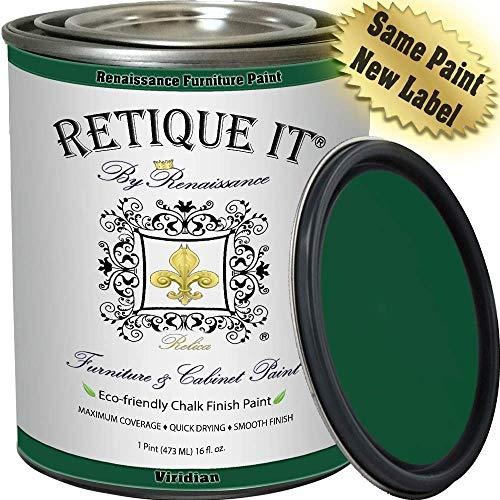 Retique It RFP-P16-Viridian by Renaissance Chalk Finish Paint 16 oz (Pint) Viridian 48