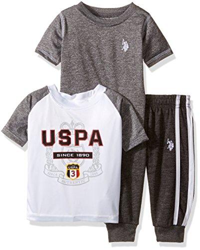 U.S. Polo Assn. Boys' Raglan T-Shirt, Spaced Dyed T-Shirt and Fleece Jog Pant, White, 12M