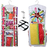Clorso Vertical Wrapping Paper Storage - Premium 40 Inch Hanging Gift Wrap Organizer with 1 Bonus Door Hook and 8 Labels