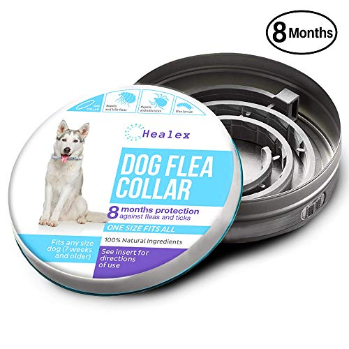 Healex Dog Flea Collar for Flea and Tick Treatment and Prevention | One Size Fits All, Collars Work for Dogs and Puppies, 100% Natural Ingredients | Helpful E-Book Included