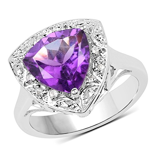 (2.55 Carats Genuine African Amethyst and White Topaz Trillion Ring Solid .925 Sterling Silver With Rhodium Plating)