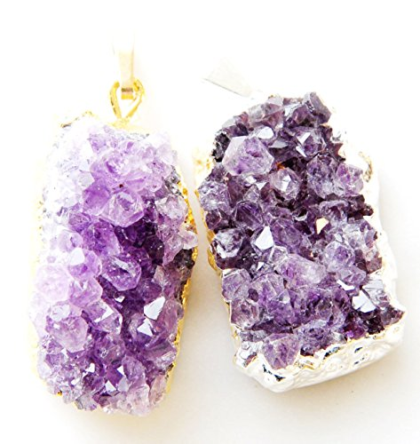 2 PCs! Medium Amethyst Druzy Cluster Pendant, One Gold & One Silver Plated, By JIC Gem