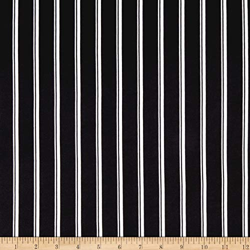 (Fabric ITY Stretch Jersey Knit Small Double Stripe Fabric, Black, Fabric By The)