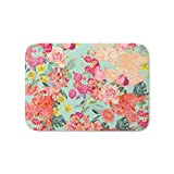 Society6 Antique Floral Print In Coral And Mint Tones Bath Mat 21'' x 34''