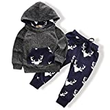 Oklady Toddler Infant Baby Boys Deer Long Sleeve Hoodie Tops Sweatsuit Pants Outfit Set