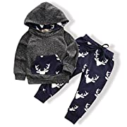 Toddler Infant Baby Boys Deer Long Sleeve Hoodie Tops Sweatsuit Pants Outfit Set(3-6 Months)