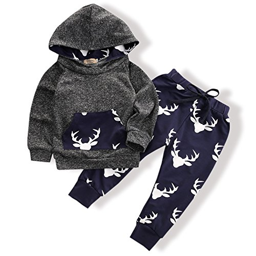 Toddler Infant Baby Boys Deer Long Sleeve Hoodie Tops Sweatsuit Pants Outfit Set(12-18 Months)