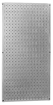 "Wall Control 30-3216 32"" x 16"" Galvanized Metal Pegboard Tool Board Panel"
