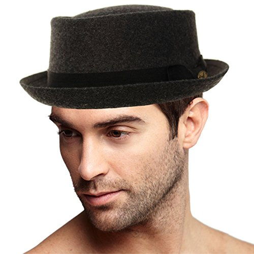 Men's Winter Wool Boater Porkpie Derby Flat Fedora Ribbon Band Hat L/XL by SK Hat shop