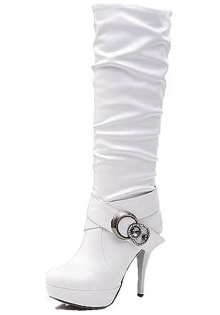b67af036a92f4 Minetom Otoño Invierno Cómodas Para Mujer Zapato Boots Shoes Pu Cuero  Botines Botas De Callejero Moda Botas Largas Tacones Altos  Amazon.es  Ropa  y ...