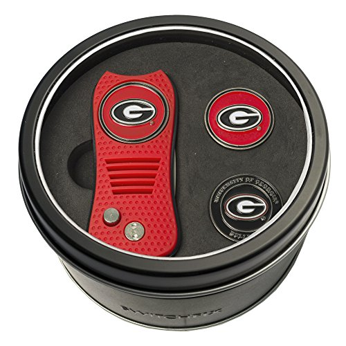 Team Golf NCAA Georgia Bulldogs Gift Set Switchfix Divot Tool with 3 Double-Sided Magnetic Ball Markers, Patented Single Prong Design, Causes Less Damage to Greens, Switchblade ()