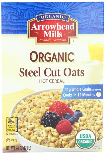 Arrowhead Mills Organic Hot Cereal, Steel Cut Oats, 24-Ounce Boxes (Pack of 4) ()