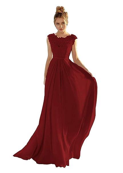 Kucco Womens Cap Sleeve Lace Bridesmaid Dresses Illusion