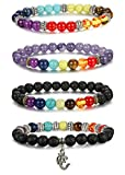 Thunaraz 4pcs Men Women 7 Chakras Beads Bracelet Lava Rock Bracelets Natural Stone Yoga Bracelet Bangle 8MM