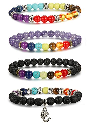 Thunaraz 4pcs Men Women 7 Chakras Beads Bracelet Lava Rock Bracelets Natural Stone Yoga Bracelet Bangle 8MM Yoga (Stone Solar Center Sun The Of)