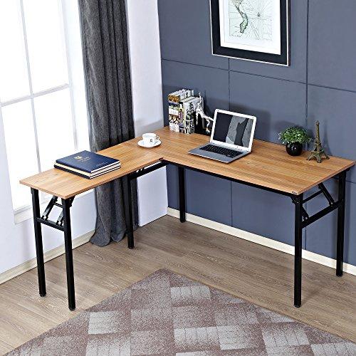 Need 55'' x 55'' L-Shaped Folding Computer Desk, One-Step Assembly, L Desk Home Office Desk Workstation Desk, Teak AC11BB by Need (Image #7)