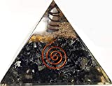 Black Tourmaline Crystal Orgone Pyramid Kit / Includes 4 Crystal Quartz Energy Points / EMF Protection Meditation Yoga Energy Generator
