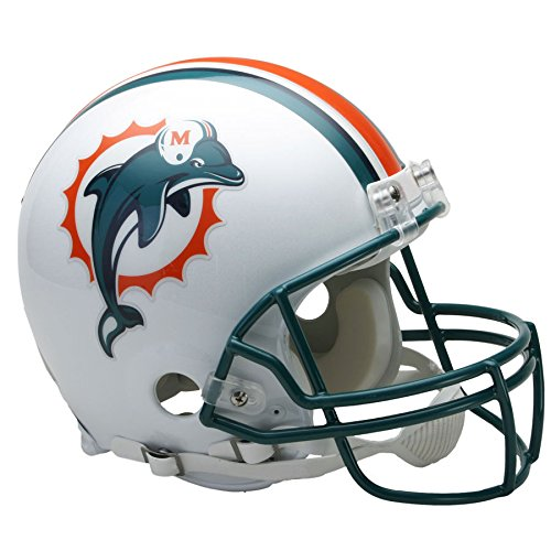 Miami Dolphins Deluxe Helmet (Miami Dolphins 97-12 Officially Licensed Authentic Throwback Football Helmet)