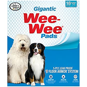 Four Paws Gigantic Wee-Wee Pads, 27.5-Inch by 44-Inch, 18-Pack