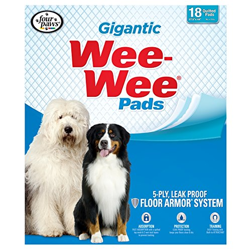 Four Paws Gigantic Wee-Wee Pads, 27.5-Inch by 44-Inch, 18-Pack (Pads Training People)