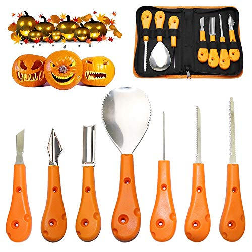 Halloween Pumpkin Carving With A Drill (Halloween Pumpkin Carving Tool Kit, Premium 7 Piece Stainless Steel Pumpkin Carving Tools Set for Halloween with Storage Carrying Case - Pumpkin)