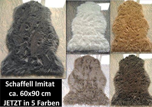 Schaffell Lammfell Fell Teppich Imitat Kunstfell Auflage Bettvorleger Schaf Lamm ca. 60x90 cm (Taupebraun)