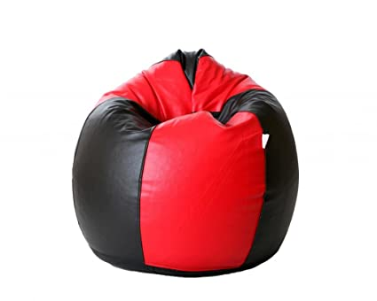 Comfy Bean Bags XXXL Bean Bag Filled With Beans Filler (Black And Red)