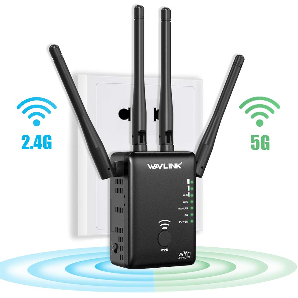 WiFi Extender 1200Mbps WiFi Repeater for 2.4G and 5G Dual Band Internet Booster with 4 External Antennas Mini Wireless Network Extender with Ethernet Port