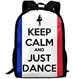 CY-STORE Funny Quote Keep Calm And Just Dance Print Custom Casual School Bag Backpack Travel Daypack Gifts