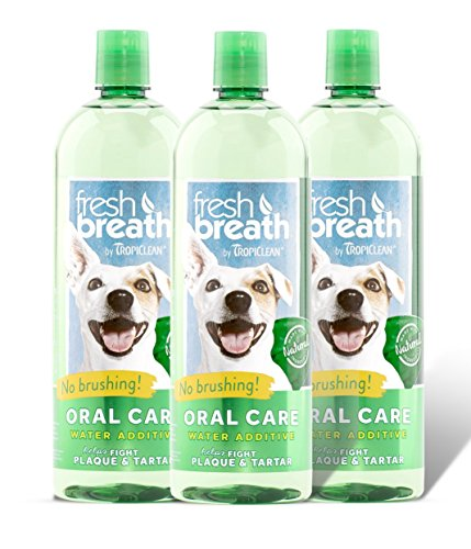 Tropiclean Fresh Breath Plaque Remover Pet Water Additive 33.8oz (Pack of 3) - Packaging may vary