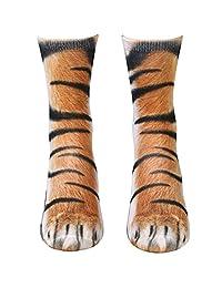 Engmoo Animal Paw Socks Novelty 3D Print Animal Paw Crew Socks for Men Women Kids