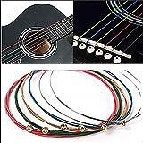 1 Set 6Pcs Rainbow Colorful Guitar Strings E-A For Acoustic Folk Guitar Classic Guitar Multi Color